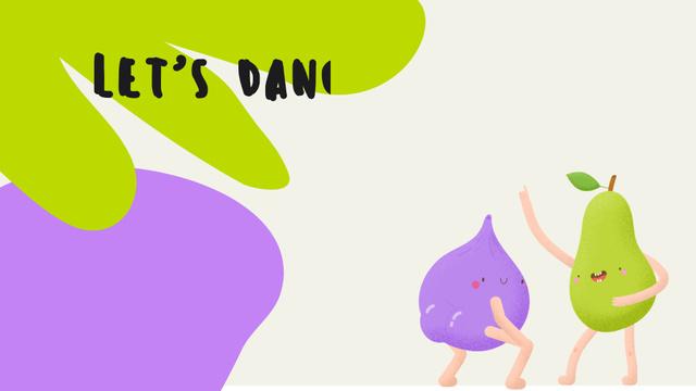 Ontwerpsjabloon van Zoom Background van Funny bright dancing Pear and Plum