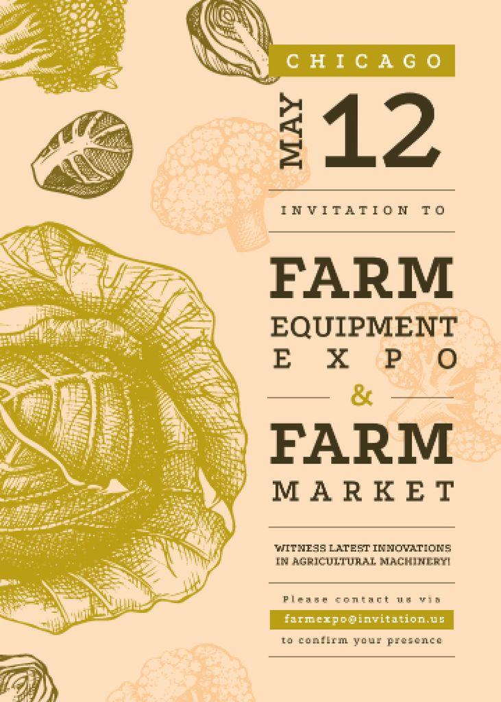 Szablon projektu Healthy green cabbage for Farming expo Invitation