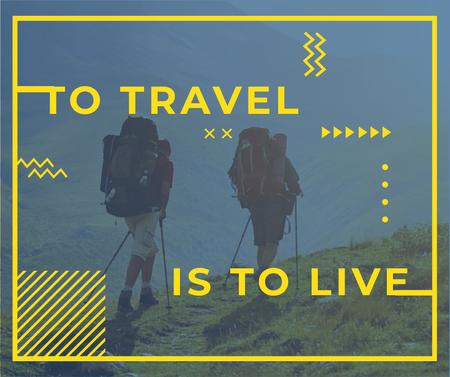 Template di design Travel Inspiration with Backpackers in Mountains Facebook
