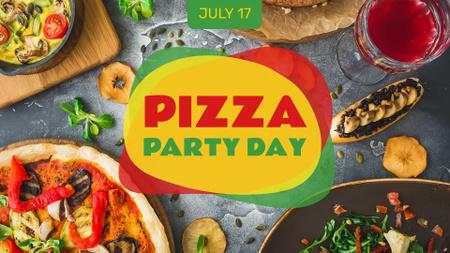 Modèle de visuel Pizza Party Day festive table - FB event cover