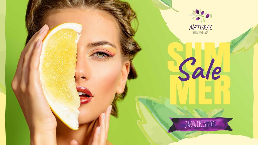 Summer Sale with Woman holding Pomelo fruit — ein Design erstellen