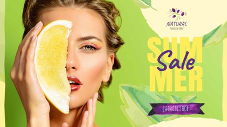 Modèle de visuel Summer Sale with Woman holding Pomelo fruit - FB event cover