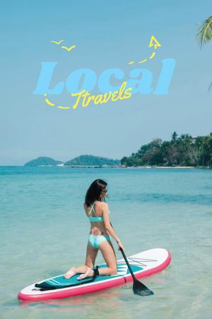 Local Travels Inspiration with Young Woman on Ocean Coast Pinterest Design Template