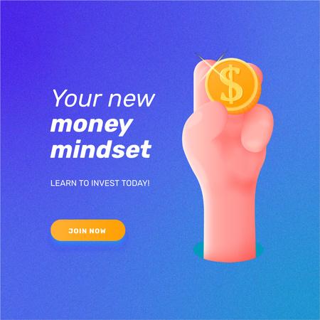 Designvorlage Money Mindset with Hand holding Coin für Instagram