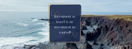 Travel Quote on Rocky Coast View Facebook cover Design Template