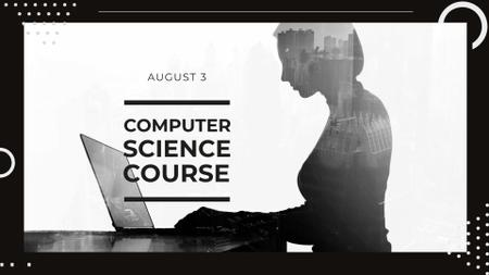 Computer Science Course Ad with Woman using Laptop FB event cover Modelo de Design