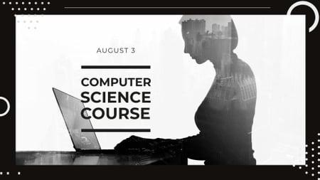 Modèle de visuel Computer Science Course Ad with Woman using Laptop - FB event cover