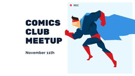 Comics Club Meeting Announcement with Superhero FB event cover – шаблон для дизайну