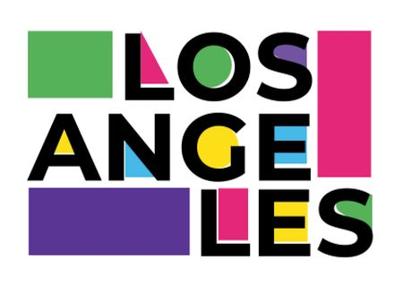 Ontwerpsjabloon van Card van Los Angeles colorful Inscription