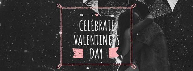 Ontwerpsjabloon van Facebook cover van Valentine's Day Greeting with Couple under Umbrella