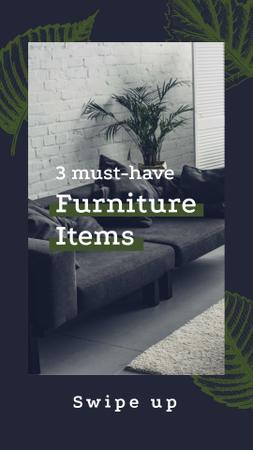 Furniture Ad with Modern Interior in Grey Instagram Storyデザインテンプレート