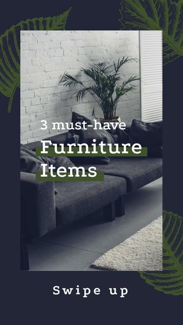 Plantilla de diseño de Furniture Ad with Modern Interior in Grey Instagram Story