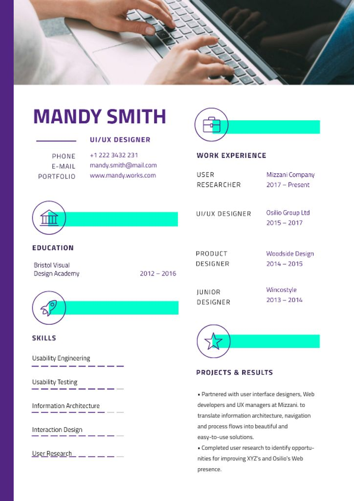 Template di design Professional Designer skills profile Resume