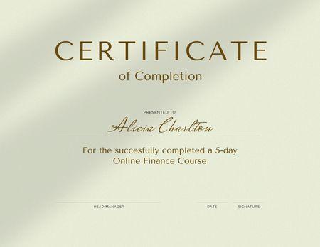 Plantilla de diseño de Online Finance Course completion Certificate