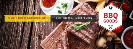 Template di design BBQ Food Offer with Grilled Meat Facebook cover