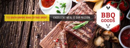 Ontwerpsjabloon van Facebook cover van BBQ Food Offer with Grilled Meat