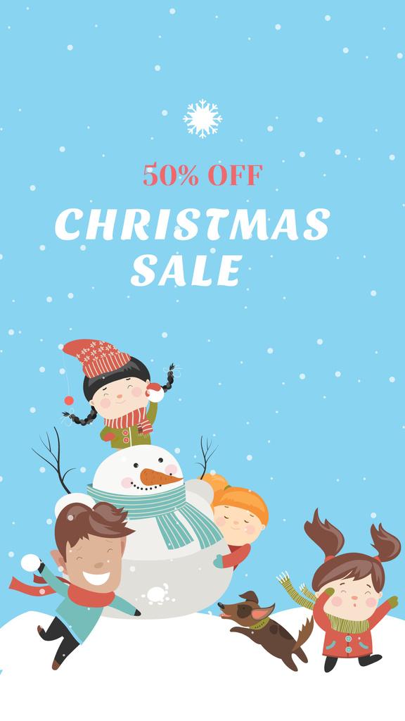 Plantilla de diseño de Christmas Sale Announcement with Children playing with Snowman Instagram Story