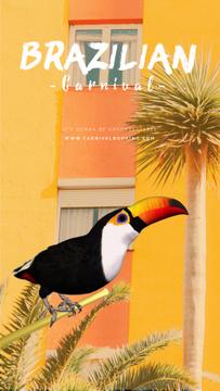 Brazilian Carnival Invitation Toucan on Palm Tree