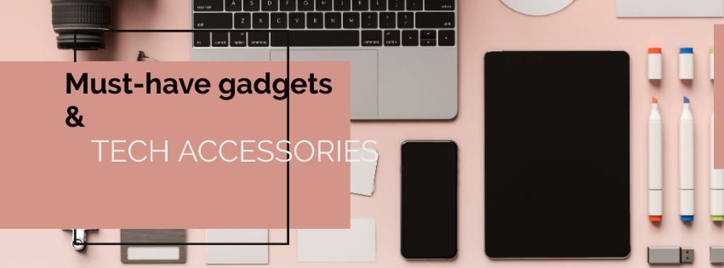 Gadgets and tech Accessories on Pink — Modelo de projeto