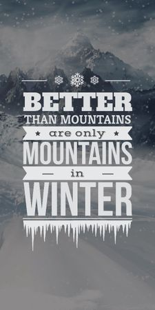 Winter Mountains quote with scenic view Graphic Modelo de Design