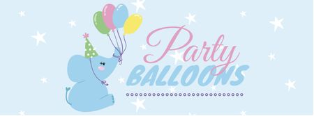 Ontwerpsjabloon van Facebook cover van Party Balloons Offer with Cute Elephant