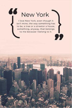 New York Inspirational Quote on City View Tumblr tervezősablon