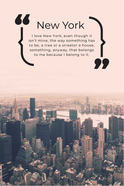 New York Inspirational Quote on City View Tumblr Design Template