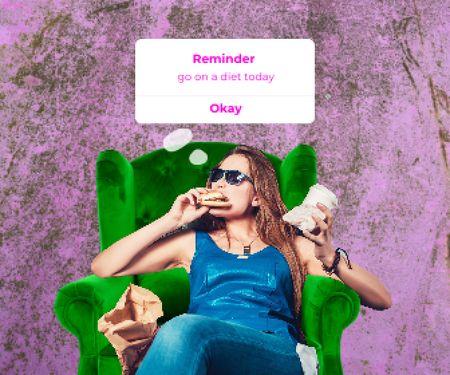 Modèle de visuel Funny Joke about Diet with Woman eating Fast Food - Large Rectangle