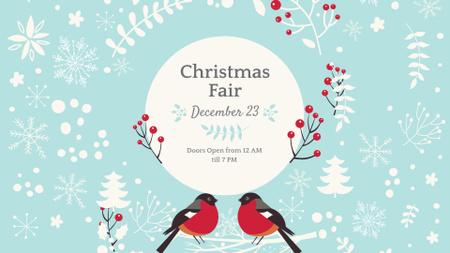 Modèle de visuel Christmas Fair Announcement with Bullfinches - FB event cover