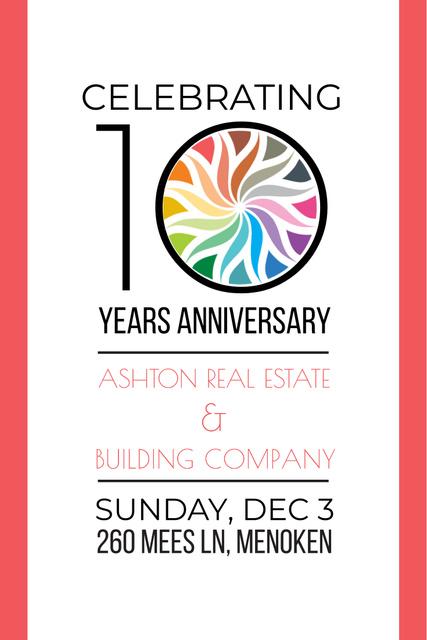 Anniversary Invitation in Simple Frame Pinterest Modelo de Design