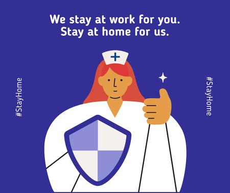 Plantilla de diseño de #Stayhome Coronavirus awareness with Supporting Doctor Facebook