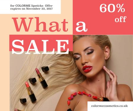 Template di design Cosmetics Sale Woman with Red Lipstick Facebook