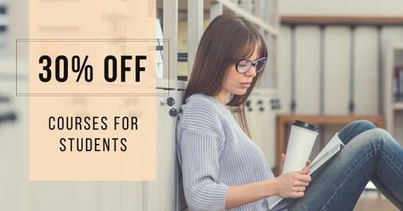 Courses for Students Discount Offer Facebook AD Design Template
