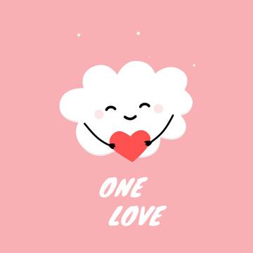 Smiling cloud hugging heart