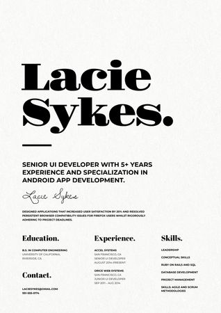 Web Developer skills and experience Resume Modelo de Design