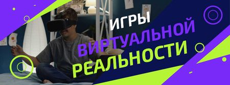 Boy playing and using vr glasses Facebook Video cover – шаблон для дизайна