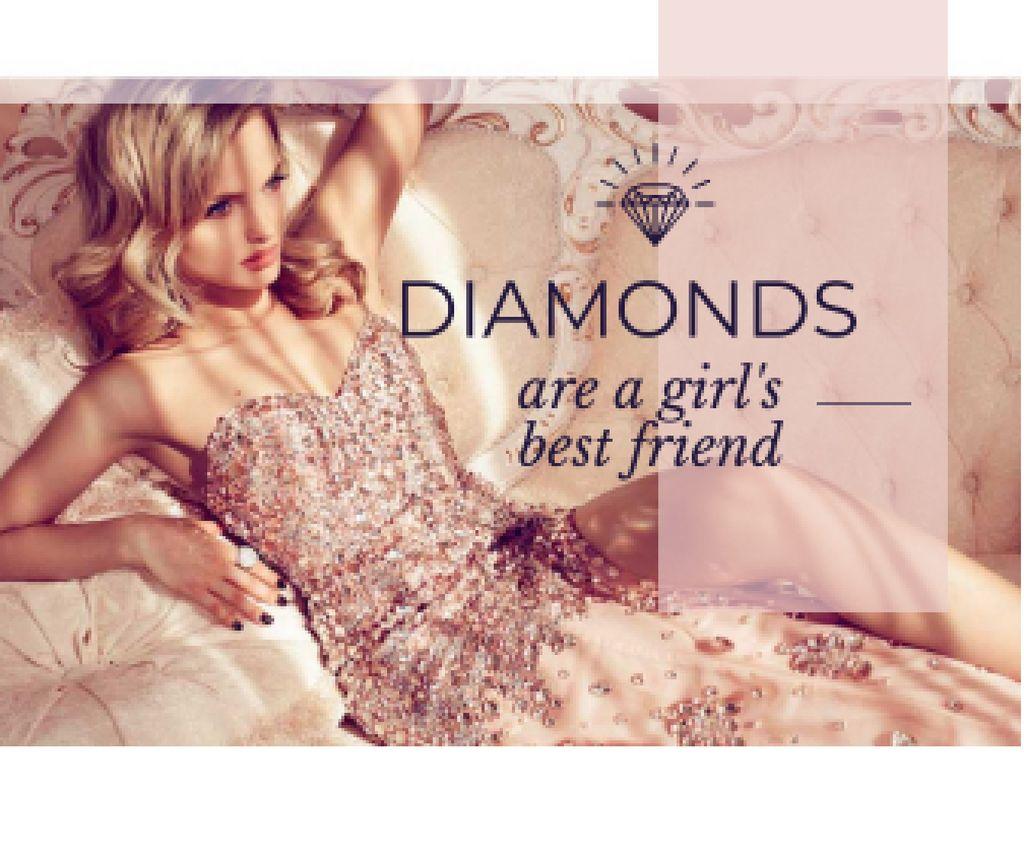 young woman with text diamonds are girl's best friend — Créer un visuel
