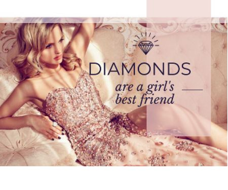 young woman with text diamonds are girl's best friend Large Rectangle Design Template