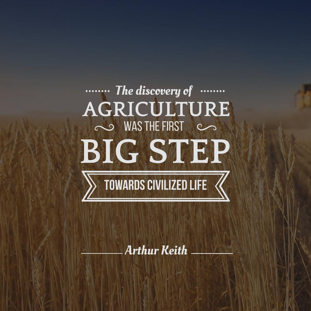 Agricultural Quote with Wheat Field — Create a Design