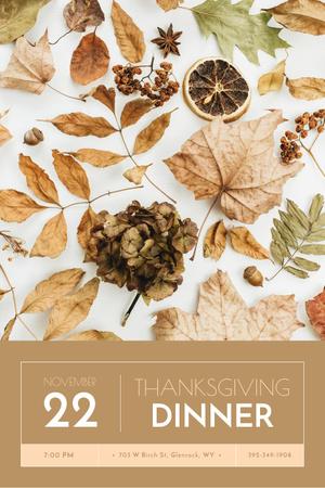Thanksgiving Dinner Announcement on Dry autumn leaves Pinterest Design Template