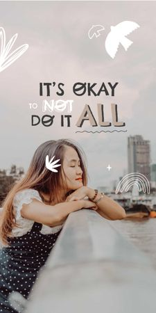 Mental Health Inspiration with Cute Girl in City Graphic – шаблон для дизайну
