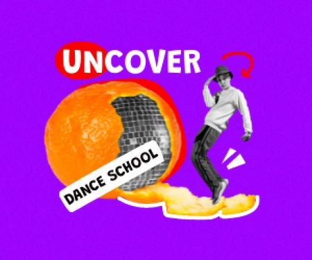 Funny Guy with Disco Ball in Orange Peel Medium Rectangle Modelo de Design