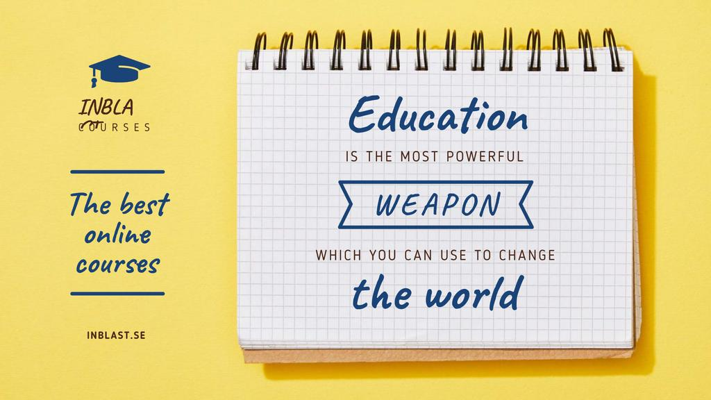 Educational Course Ad with Notebook in Yellow — Crear un diseño
