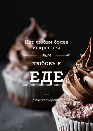 Delicious chocolate muffins with quote Poster – шаблон для дизайна