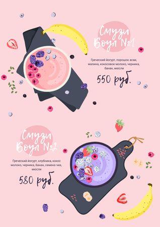 Fruit Smoothie bowls Menu – шаблон для дизайна