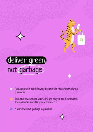 Waste Recycling Motivation with Cute Tiger holding Eco Bag Poster Design Template