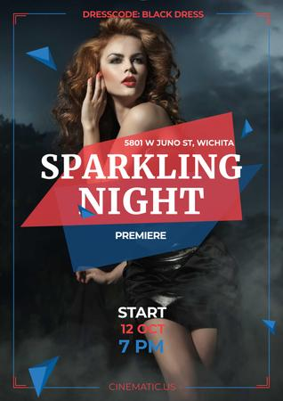 Sparkling night party Annoucement Poster – шаблон для дизайна
