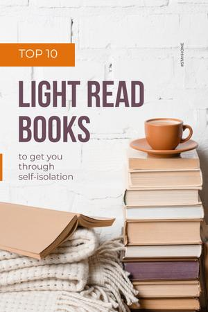 Stack of Books with cup of Coffee and Plaid Pinterest – шаблон для дизайна