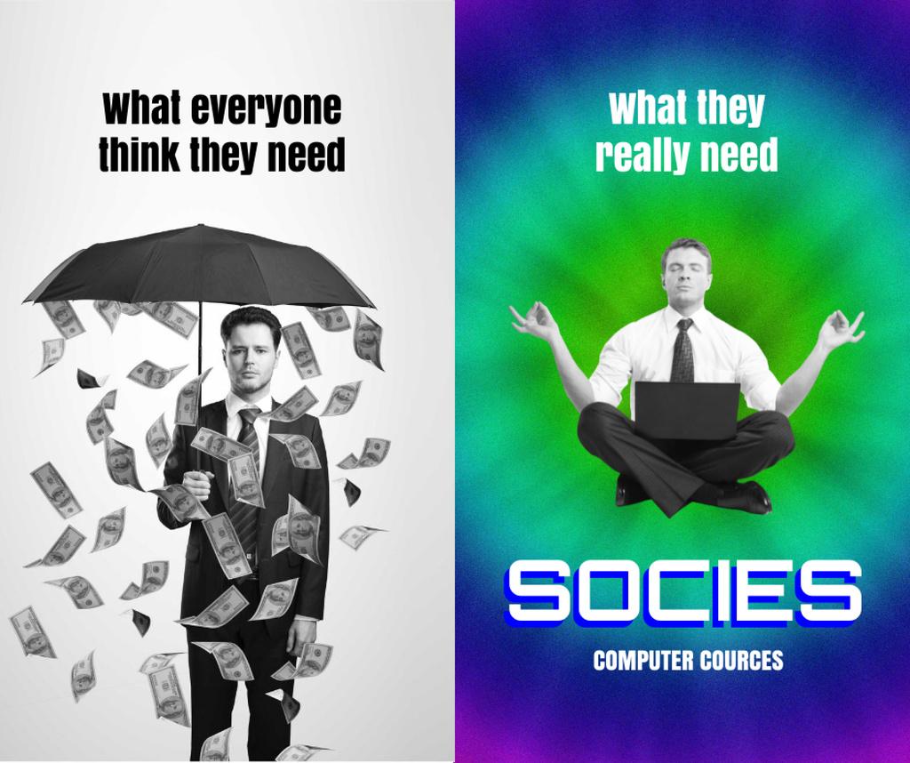 Funny Meditating Man and Guy under Falling Money Facebook – шаблон для дизайну