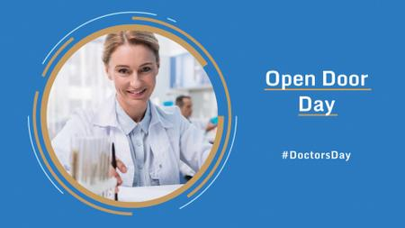 Doctor's Day Event Announcement with Smiling Female Doctor FB event cover – шаблон для дизайна